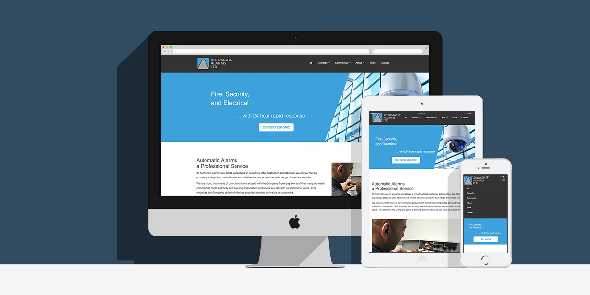 Automatic Alarms Bespoke CMS and Website: By Factory, Digital Agency Manchester